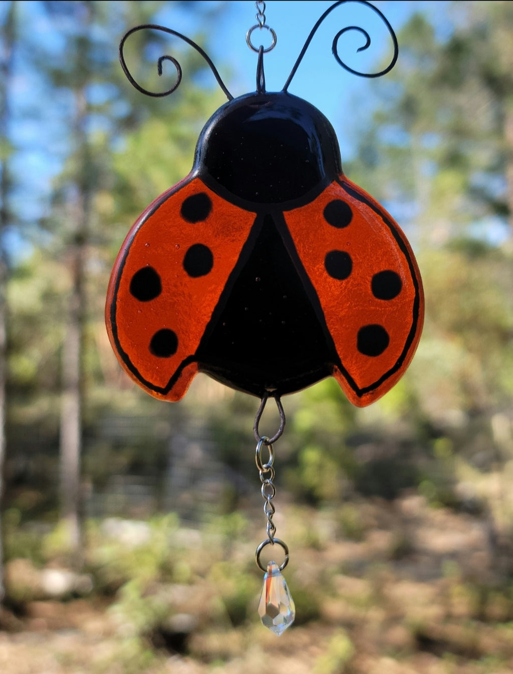 New Ladybug Cremation Art Sun Catcher Ashes Infused Glass Memorial 4 inch