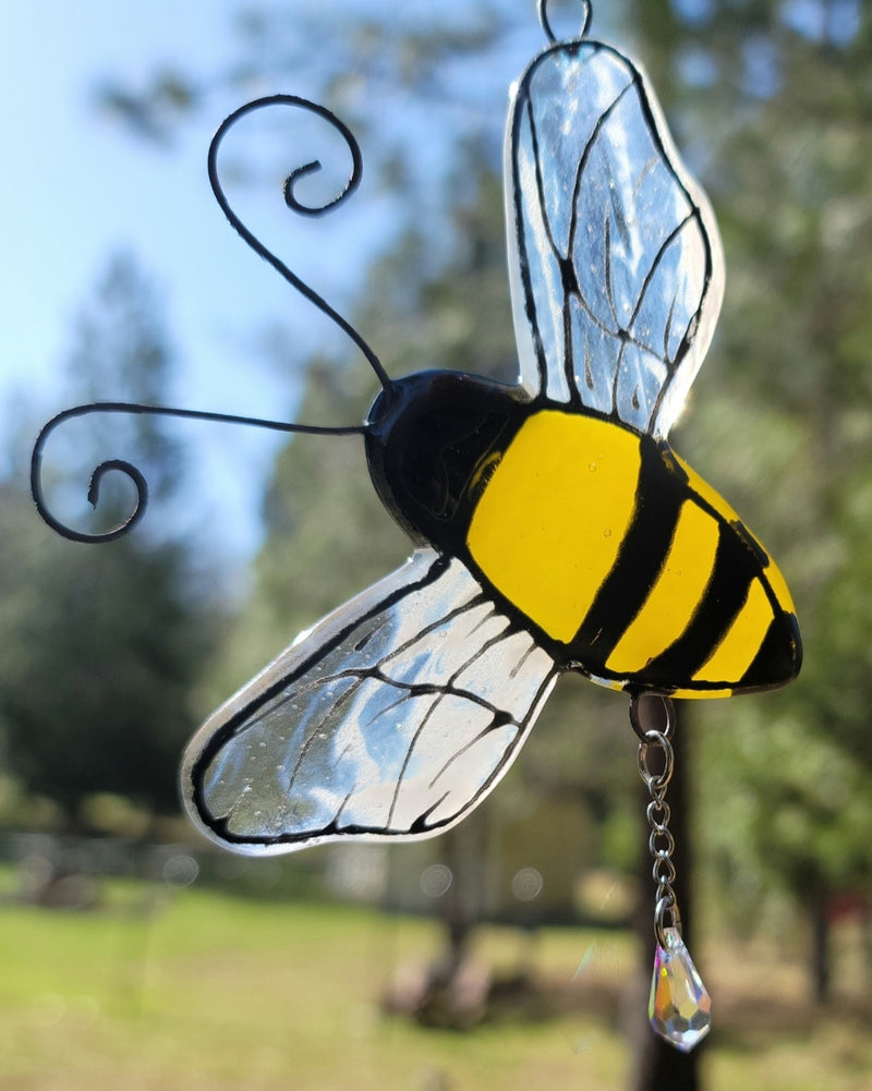 New Bumble Bee Cremation Art Sun Catcher Ashes Infused Glass Memorial 4 inch