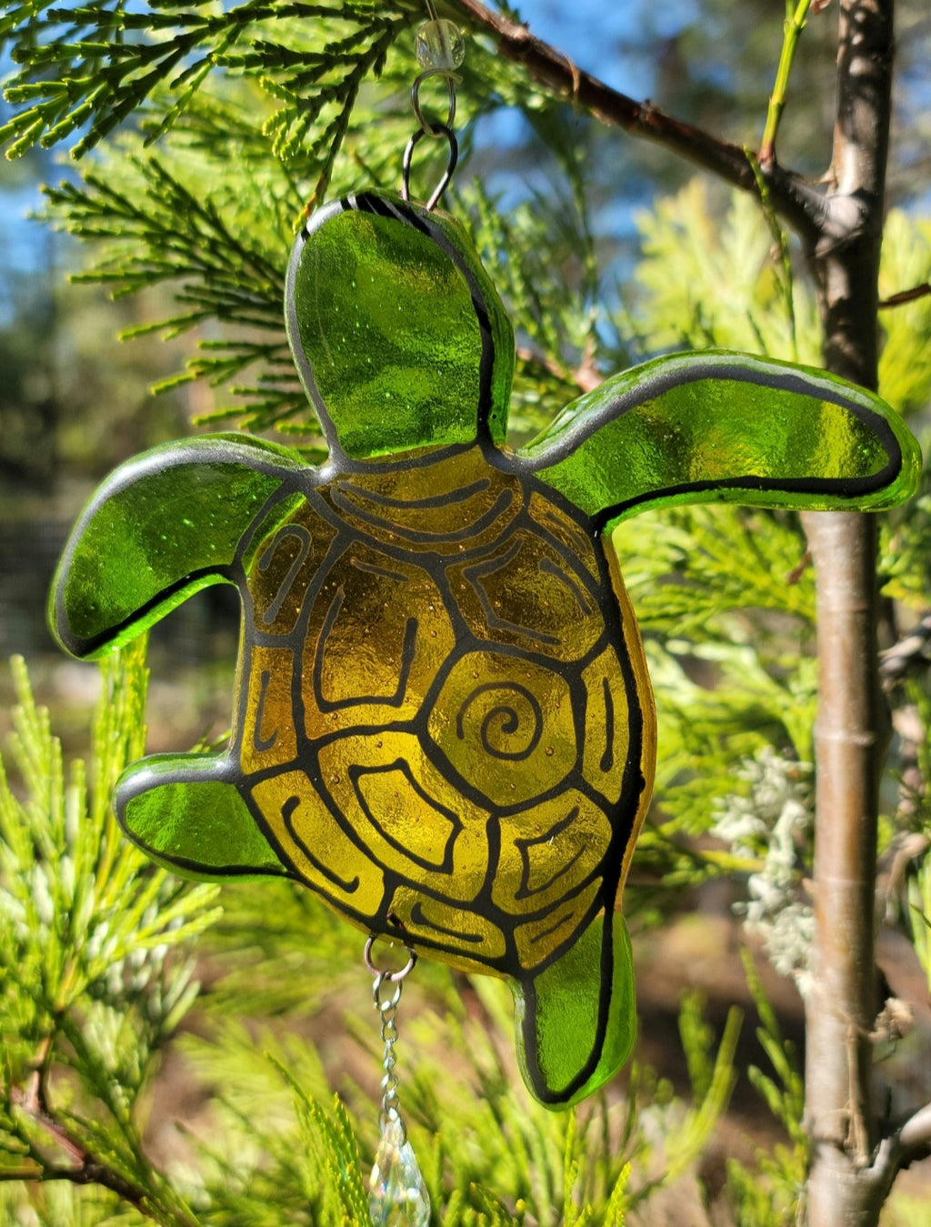 New Turtle Cremation Art Sun Catcher Ashes Infused Glass Memorial 7inch