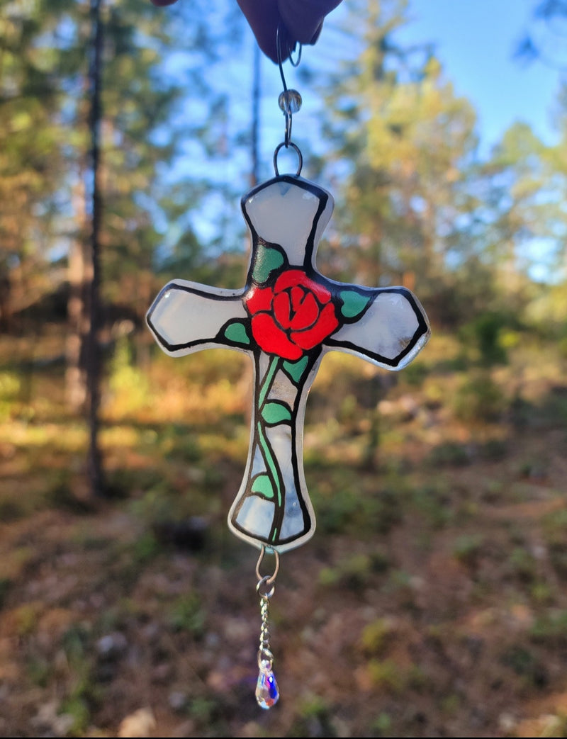 New Red Rose Crucifix Cremation Art Sun Catcher Ashes Infused Glass 4 inch