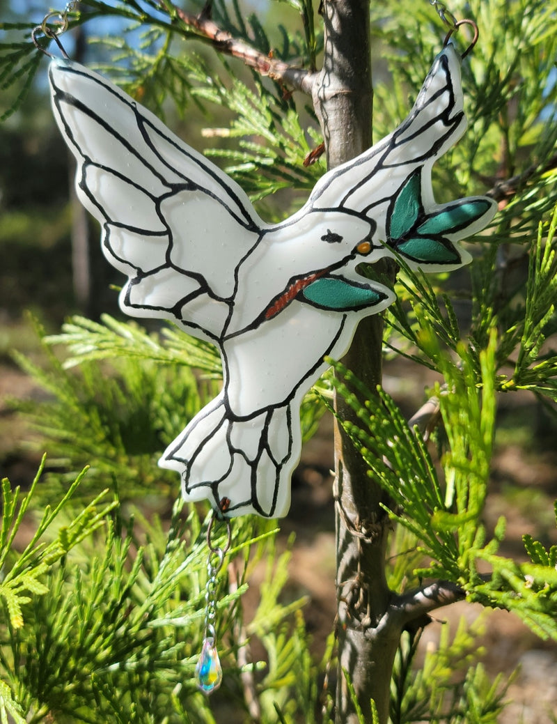 NEW  Peace Dove and Olive Branch Cremation Art Sun Catcher Ashes Infused Glass Memorial 5inch