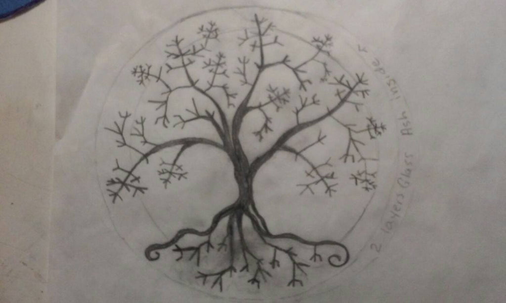 tree of life sketch ashes in glass custom design