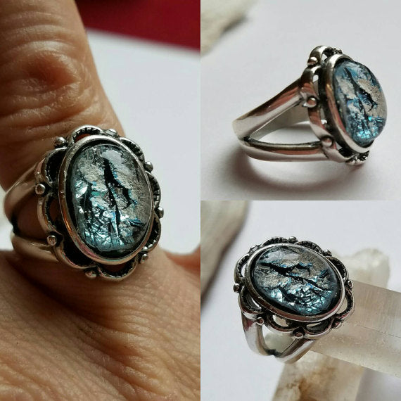 Ashes inFused Glass Cremation Ring Scalloped Sterling Silver 7 8