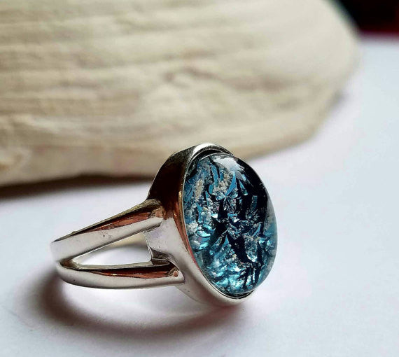 Ashes Infused Glass Cremation Jewelry Ring Sterling Silver 7 8