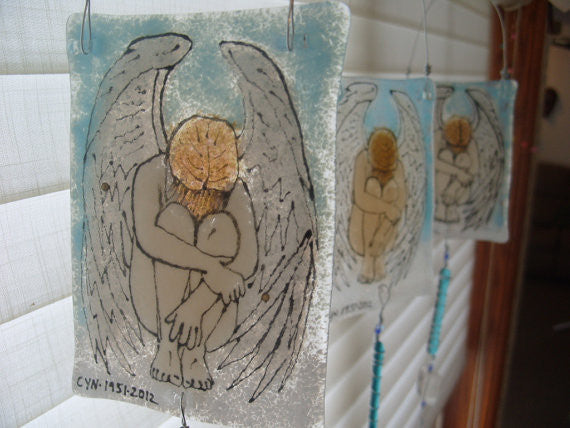 Crying Angel Ashes Infused Glass Cremation Art Sun Catchers Custom Designs Ashes in Glass by Infusion Glass