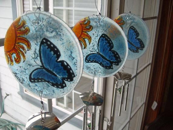 butterfly memorial suncatcher ashes in glass by infusion glass