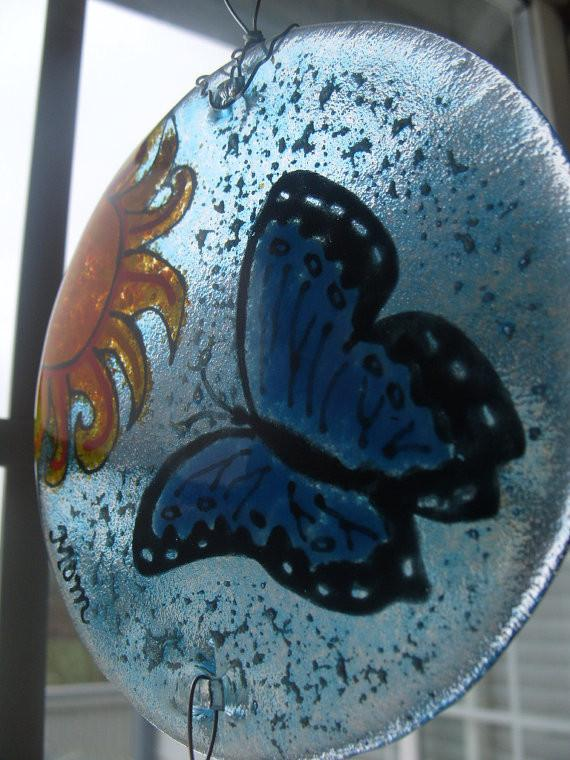 butterfly memorial suncatcher ashes into glass by infusion glass