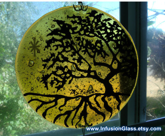 Tree of Life Ashes Infused Glass Cremation Art Sun Catchers Custom Designs Ashes in Glass by Infusion Glass close up