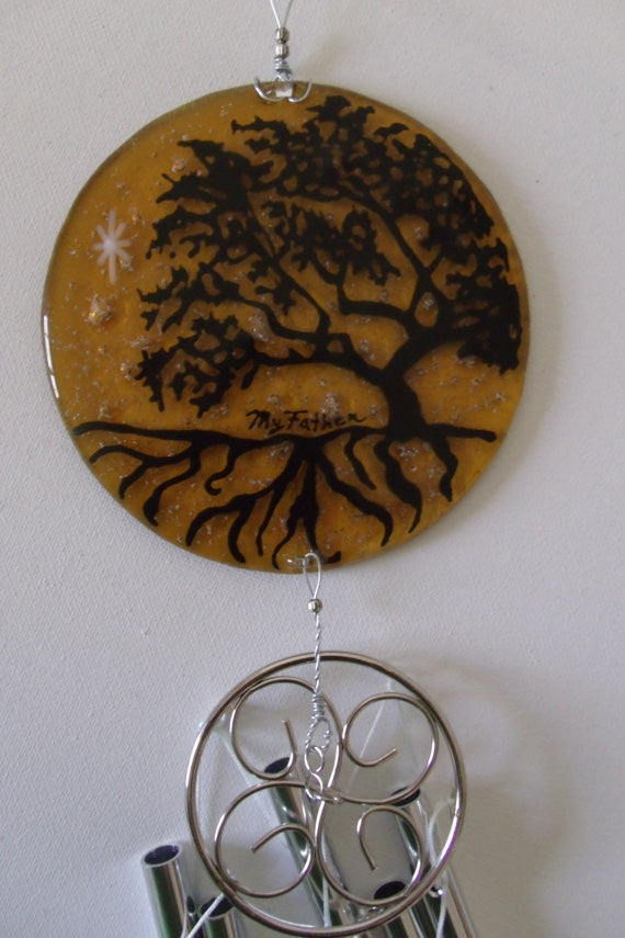 Tree of Life Ashes Infused Glass Cremation Art Windchime Custom Designs Ashes in Glass by Infusion Glass