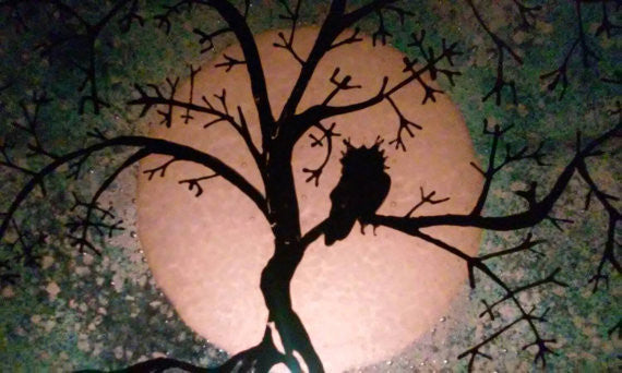close up 10 inch Tree of Life Owl Urn Cremation Ashes Infused Glass by Infusion Glass Full Moon