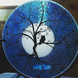 Cremation Glass Art A Owl Moon Tree of Life Cremation Ashes InFused Glass Candle Rod Iron Urn  Memorial Art