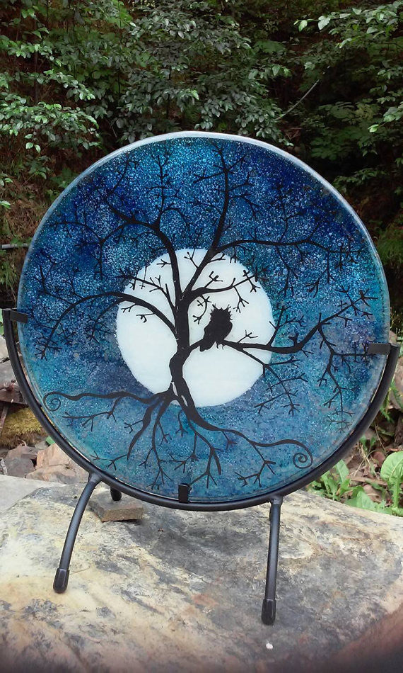 Table Display Tree of Life Owl Urn Cremation Ashes Infused Glass by Infusion Glass Full Moon