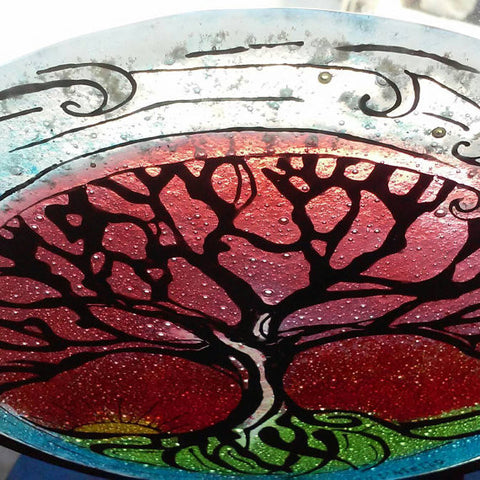 Cremation Glass Art A Tree of Life Sunset Wave Cremation Ashes InFused in Glass Candle Rod Iron Urn Memorial Art