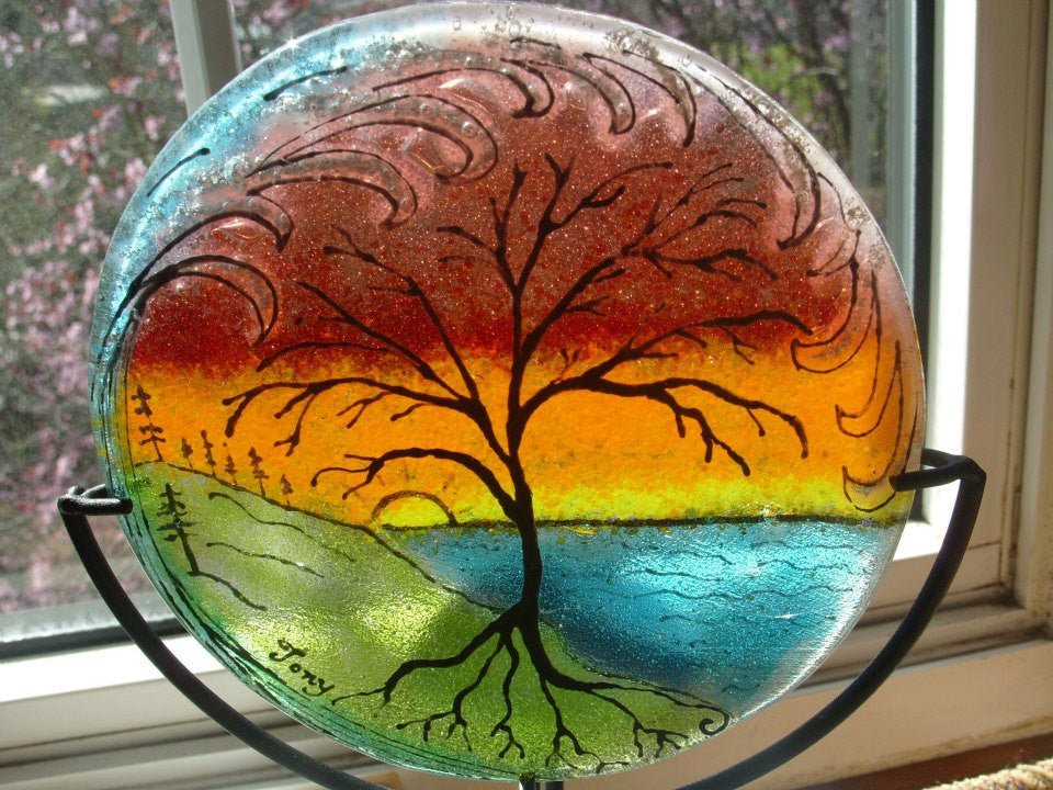 Ashes InFused Glass Cremation Art Sunset Tree of Life Ocean Wave Handmade Ashes in Glass