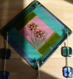 Cremation GLass Art Sun Catchers Mosaic Flower 5 inch Cremation Ashes inside Glass Memorial Art 14 Hand Crafted Beads