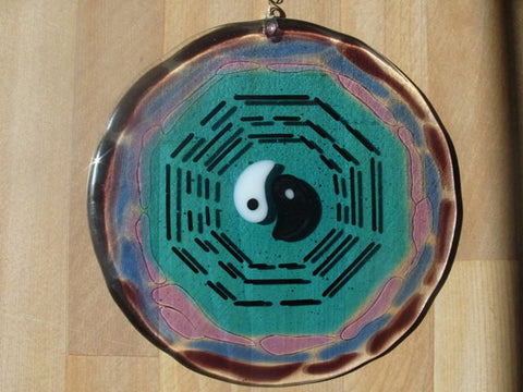 Cremation Glass Art Sun Cather Yin Yang Protection Bagua 5 inch Cremation Ash Memorial Ashes InFused in Glass 5 Hand Crafted Beads