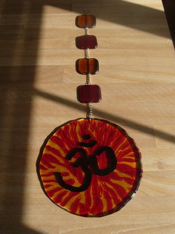 Cremation Glass Art Cremation Sun Catcher OM 5inch Cremation Ashes InFused in Glass 5 Hand Crafted Beads Glass Memorial