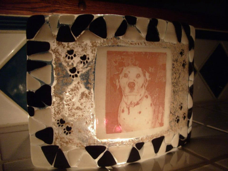 Dalmation Dog Paw Print Photo Memorial Glass Urn Ashes Infused Glass Candle