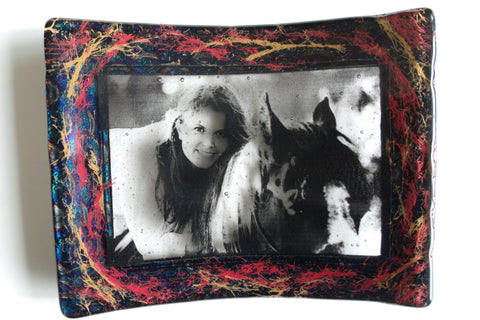 Hair Memorial Glass Art Hair Photo Frame Infused with Human,Pet,Horse Hair Custom Photo Frame