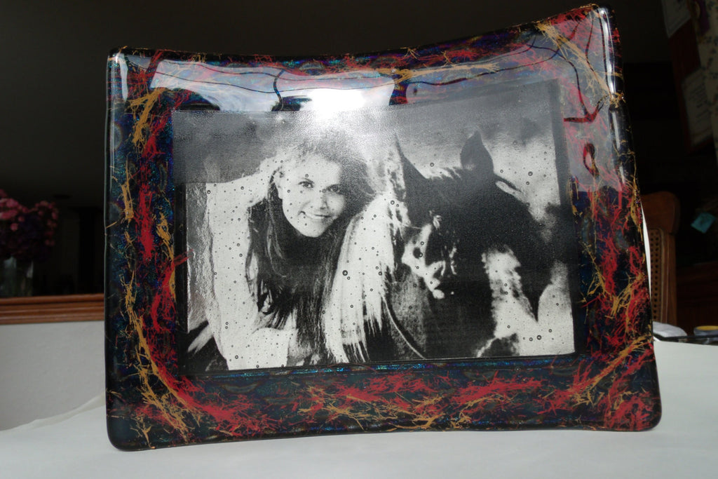photo frame of woman with horse in glass that is infused with horse hair Unique Celebration of life Funeral Memorials. Ashes in Glass Cremation Glass Art Sculptures, Cremation Wind Chimes, Cremation Sun Catchers, Table Displays, & Cremation Jewelry Custom USA Handmade by Infusion Glass. Ashes Infused Glass Human and Pet Cremation Ash Urns  Ashesinfusedglass.com