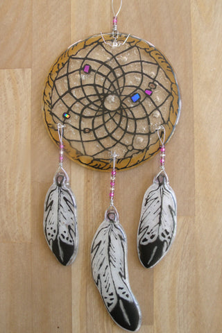 Cremation Glass Art Cremation Sun Catcher Dream Catcher 5 inch Glass Feathers Hand Painted Art Cremation Ashes Infused in Glass
