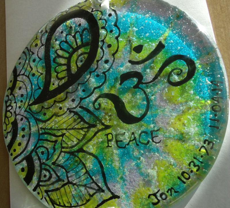 Ashes Infused Glass Cremation Art Sun Catcher OM Peace Memorial