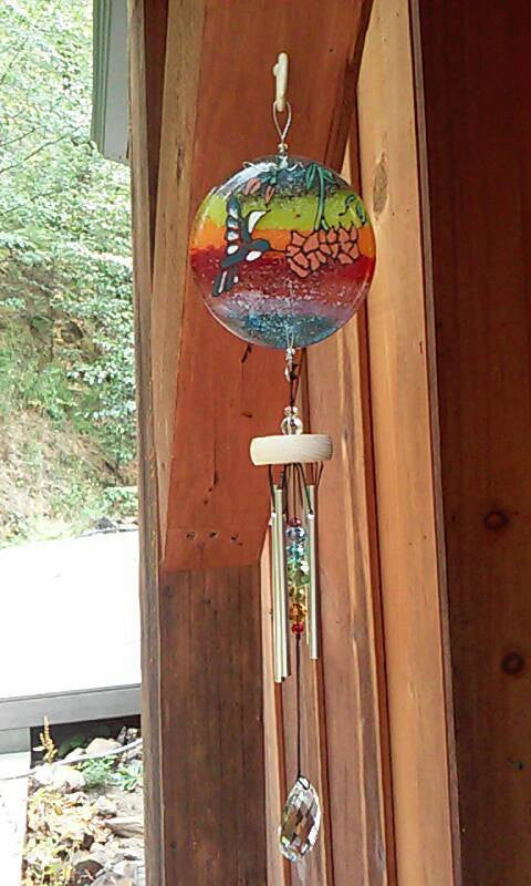 Ashes Infused Glass Cremation Art Wind Chime  Hummingbird Rainbow Handmade hanging outside