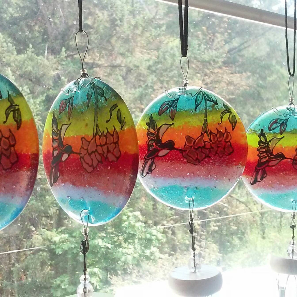 Ashes Infused Glass Cremation Art Wind Chime  Hummingbird Rainbow Handmade 4 hanging in a window