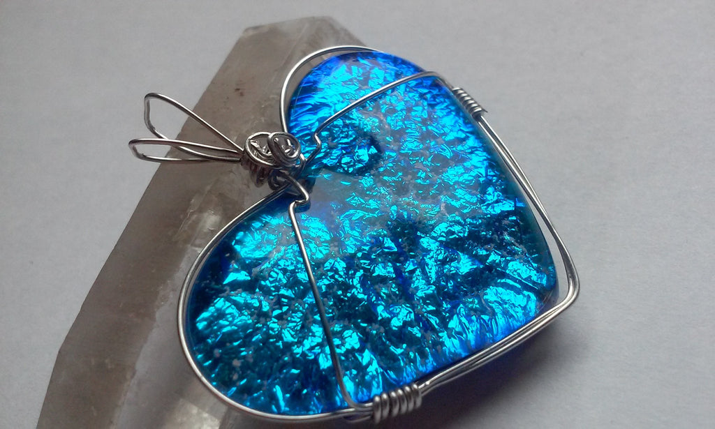 heart pendant blue silver crinkle sterling silver, cremation jewelry, memorial jewelry, pet memorial jewelry, cremation ring, memorial ring, handmade, urn ring, ashes in glass, ashes InFused Glass, ring for Ashes, sympathy gift USA Handmade by Infusion Glass Artist Joele Williams Human and Pet Cremation Ash Remembrance Urns AshesInfusedGlass.com