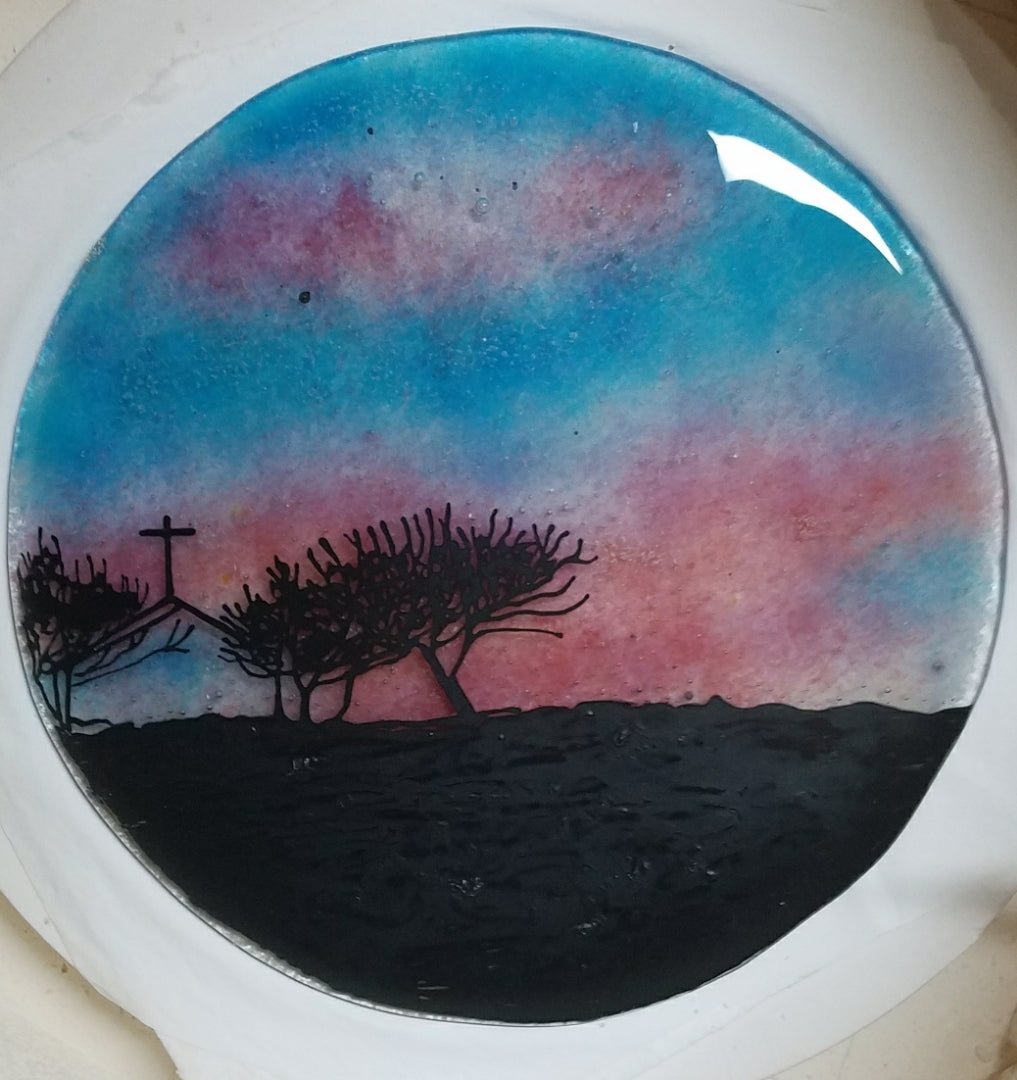 Sunset Crucifix Tree of life Cremation Ashes InFused Glass Memorial Art