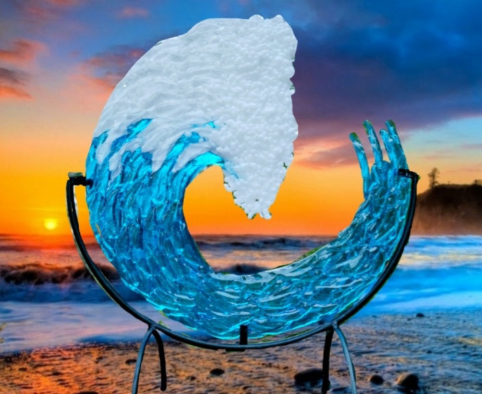 Ashes InFused Glass Cremation Glass Art 10 inch 3D Ocean Wave Sculpture