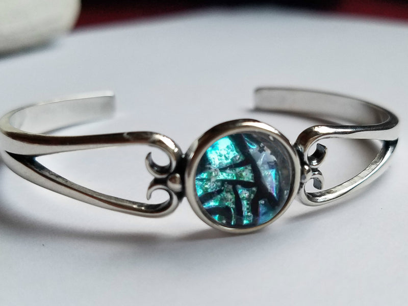 Heart Cuff Bracelet Cremation Jewelry Glass 12mm Sterling Silver Ashes InFused Glass Urn