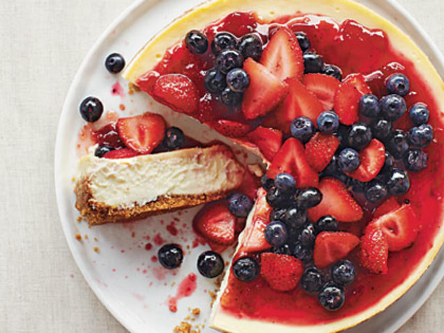 July's Recipe of the Month - No Bake Strawberry & Blueberry Cheesecake