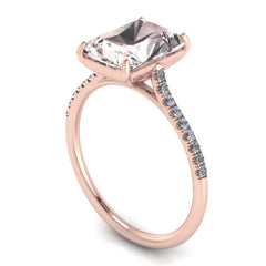 14K ROSE GOLD EMERALD CUT MORGANITE ENGAGEMENT RING