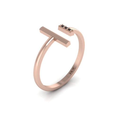 Rose Gold 14k Parallel Diamond Bar Petite Ring