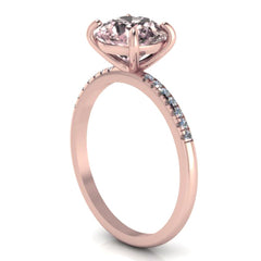 14K ROSE GOLD ROUND MORGANITE RING WITH WHITE DIAMONDS