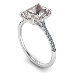 14K WHITE GOLD EMERALD CUT MORGANITE ENGAGEMENT RING