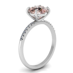 14K WHITE GOLD ROUND MORGANITE RING WITH WHITE DIAMONDS