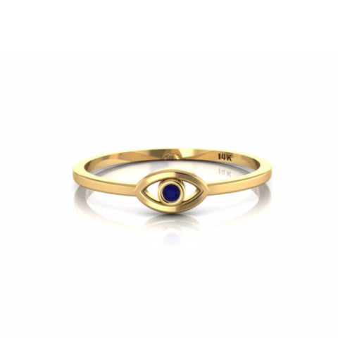 Evil Eye Yellow Gold 14k Petite Ring with Blue Sapphire