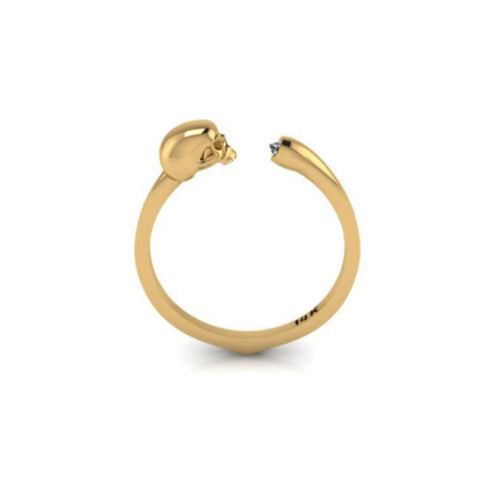 Until Death Do Us Part Yellow Gold 14k Small Skull Petite Ring White Diamond
