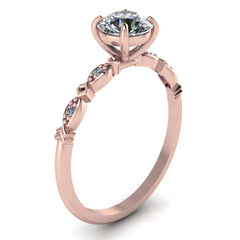 DELICATE 14K ROSE GOLD MORGANITE ENGAGEMENT RING ROUND SOLITAIRE WEDDING RING WITH DIAMONDS