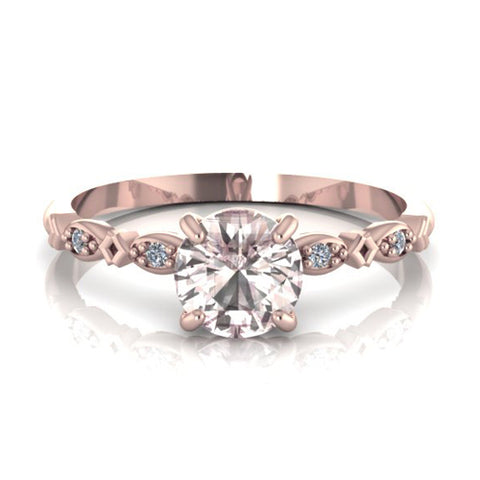 7244d0beb09619 DELICATE 14K ROSE GOLD MORGANITE ENGAGEMENT RING ROUND CUT WITH DIAMONDS