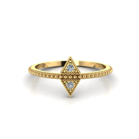 Double Triangle Ring 14k Yellow Gold Beaded Diamond Antique Style Petite Ring