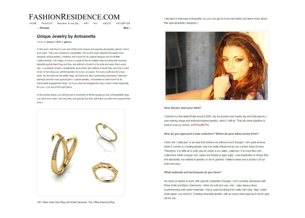 Fashion Residence Interview Antoanetta Jewelry