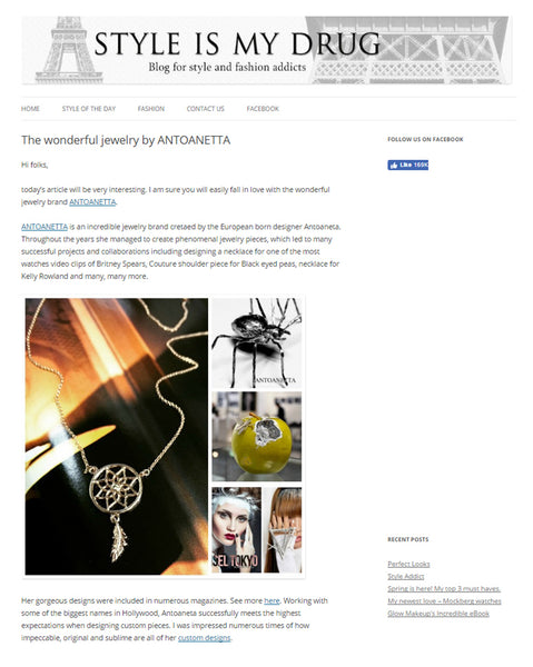 Feature on Style Is My Drug Antoanetta Jewelry