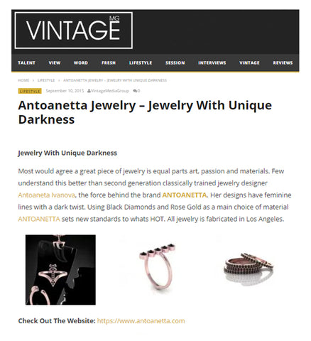 Article Antoanetta Jewelry on Vintage Media Group