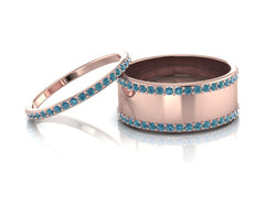 14K Rose Gold Minimalist Blue Diamonds Wedding Bands