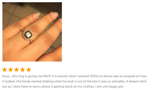 cushion cut engagement ring testimonial