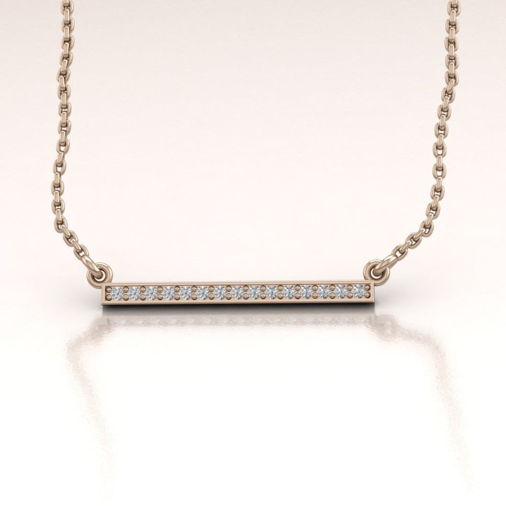 14K Rose Gold Horizontal Bar Necklace with White Diamonds