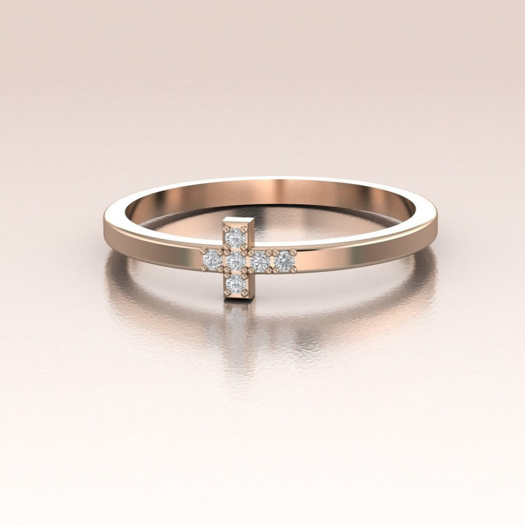 14K Rose Gold Mini Diamond Cross Ring